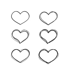 Hand-drawn black heart shapes set vector