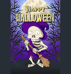 Happy halloween postcard template skeleton hag vector