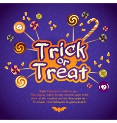 happy halloween trick or treat greeting card vector image