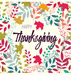 Happy thanksgiving day card with flowers vector