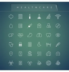 Healthcare Thin Icons Set vector image
