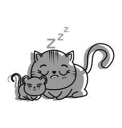 isolated cat and mouse vector image