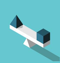 Isometric pyramid cube balance vector