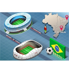 Isometric Stadium of Natal and Rio De Janeiro vector image