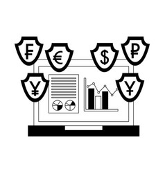 laptop foreign exchange currency statistics chart vector image