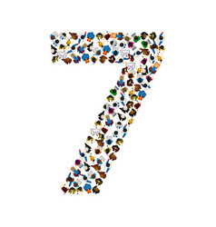 large group of people in number 7 seven form vector image