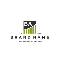 Letter ba chart financial logo design vector