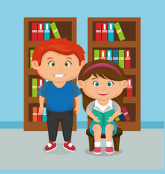 little school kids couple vector image