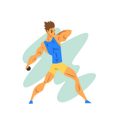 Male athlete throwing a kernel professional vector