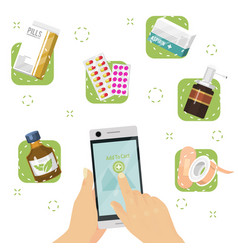 medicine online shop concept hand with phone vector image