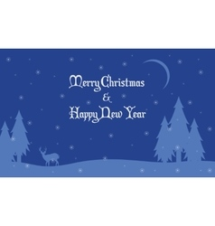 Merry Christmas landscape deer and spruce vector image