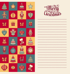 Mery christmas template for greeting card vector