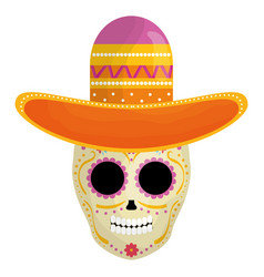 Mexican skull death mask with mariachi hat vector