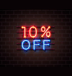 neon 10 off text banner night sign vector image