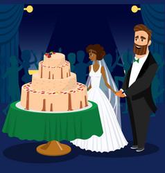newlyweds cutting wedding cake vector image