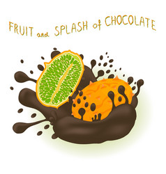 On theme falling kiwano at splash sugary chocolate vector