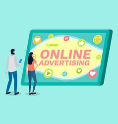 online advertising digital marketing people vector image