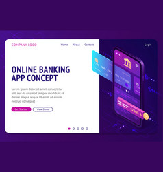 online banking app isometric landing page banner vector image
