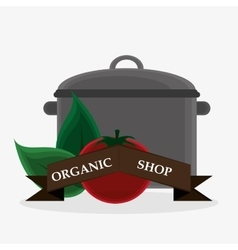 organic shop tomato leaves cooking pot banner vector image