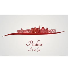 Padua skyline in red vector