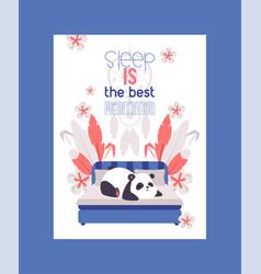 panda bear sleeping on bed in room poster vector image