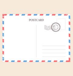 postcard template paper blank postal card vector image