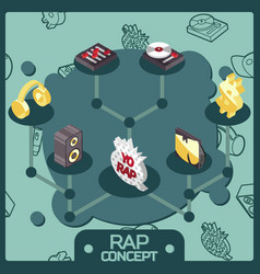 Rap color isometric concept icons vector