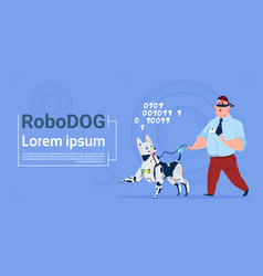 robotic dog guiding blind man cute domestic animal vector image