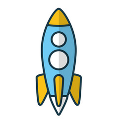 Rocket launching on white background vector