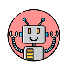 Round robot icon line style on white background vector