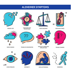 set alzheimer s disease symptoms icons in line vector image