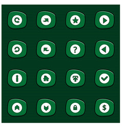 Set of 16 mix white icons on rounded green vector