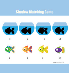 Shadow matching game kids activity with fishes vector