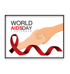 Shaking hands and red ribbon to aids day vector