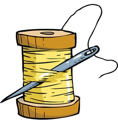 skein of thread with needle vector image