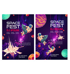 Space fest cartoon flyers invitation to party vector