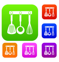 spatula ladle and whisk kitchen tools set vector image