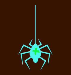 Spider and torn web scary spiderweb of halloween vector