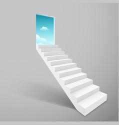 stairway with open door heaven ladder staircase vector image