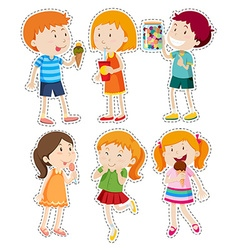 Sticker set of boys and girls vector image vector image