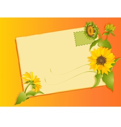 summer letter with sunflowers vector image