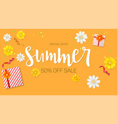 summer sale ad selling banner top view gift box vector image