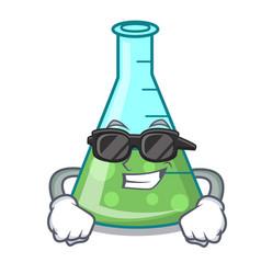 Super cool science beaker character cartoon vector