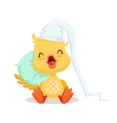 Sweet yellow duckling sleeping on a pillow emoji vector