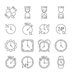 Time management sand clock 24 hours thin line vector