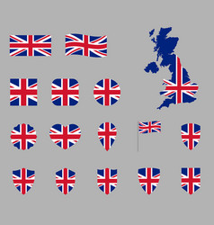 uk flag icon set british national flag icons vector image