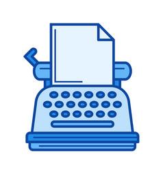 Vintage typewriter line icon vector