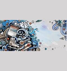 Winter hand drawn doodle banner cartoon detailed vector