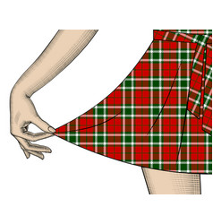Womans hand pull the edge of the tartan dress vector
