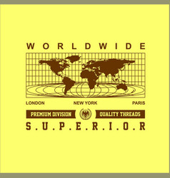 Worldwide superior map simple vintage fashion vector